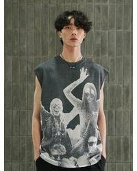 13Month Printing Sleeveless T-shirt Charcoal - Grey