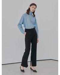 among A Side Slit Pants - Black