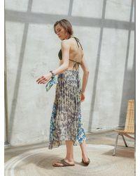 OUAHSOMMET Multi Print Pleated Skirt Multi Color - Multicolor