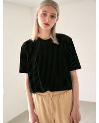 COLLABOTORY Stripe Velvet Short Sleeve Tee Shirt - Black