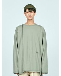 LAYER UNION Cut Ctrs St Over Long Sleeve Tee Light Olive - Green