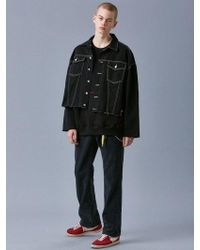 VOIEBIT V635 Stitch Oversize Denim Jacket_black
