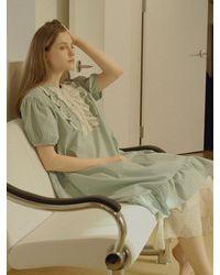ULLALA PAJAMAS Short Sleeve Dress - Green