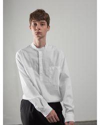 OWL91 Oversize China Collar Shirts - White