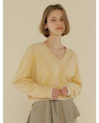 among A Colour Line Knit Top - Yellow