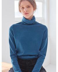 PLOT Turtleneck Basic Knit Deep Blue
