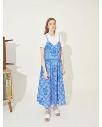 COLLABOTORY Print Slip Dress - Blue