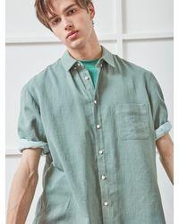 NOHANT Wide Cuffs Short Sleeve Linen Shirt Green