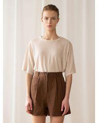 among A Herringbone Linen Shorts - Brown