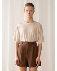 among - A Herringbone Linen Shorts_brown - Lyst