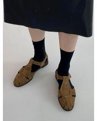 MARONY CROSHET Fisherman Suede Sandals - Black