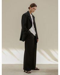 AEER Tucked Wool Trousers - Black