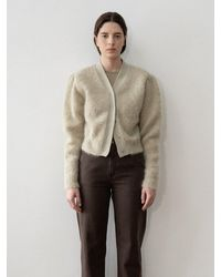 Amomento Mohair Blend Cropped Waist Cardigan - Green