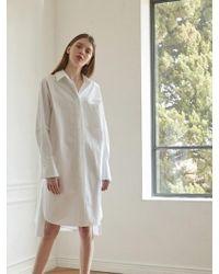 NILBY P - Unbalanced Shirts Dress Wh - Lyst