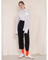 ANOTHER A - Suburbia Highwaist Wool Trousers Black Grey - Lyst