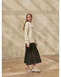 COLLABOTORY Glossy Pleats Skirt - Black