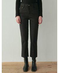 YAN13 Soft Straight Cotton Trousers - Black