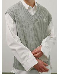WAIKEI Mix Knit Vest - Grey