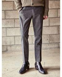 YAN13 Basic Wool Slacks Charcoal - Gray