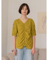 among - A Shirring Blouse - Lyst