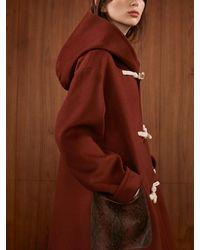 AEER Coat Duffle Hooded Wool Cashme Burgundy - Brown