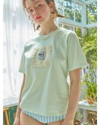 W Concept - Lace Framed T-shirt Mint - Lyst