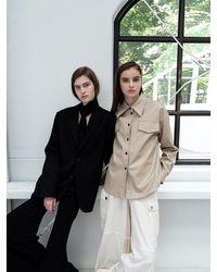 AVA MOLLI Fake Leather Shirts Beige - Natural