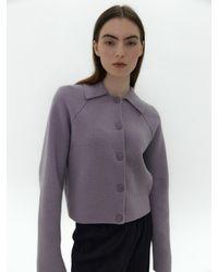38comeoncommon Lamswool Collar Knit Cardigan (light Purple)