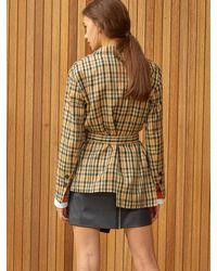 Clue de Clare Unbalance Belted Jacket - Multicolor