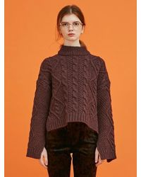 ANOTHER A - Twisted Unbalance Slit Knit Top (wine) - Lyst