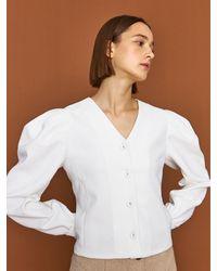 HIDDEN FOREST MARKET Nouveau Jacquard Blouse - White