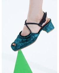 Wite - C06 Green Velvet Silver Ballerina Sandal - Lyst