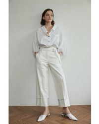 AEER Pants Wide Cotton - White
