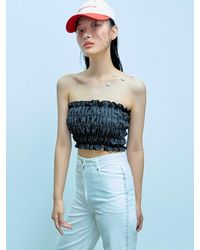 Fleamadonna Shirred Zip Back Crop Top - Black