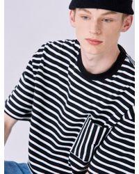 VOIEBIT - V330 Vertical Stripe Pocket Half T-shirt Black - Lyst