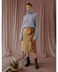 among - [set] A Line Turtleneck Knit & A Flare Long Sk - Lyst