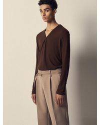 Noirer Wool Zip-up V-neck Long Sleeve T-shirt Brown