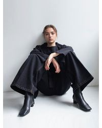 AEER High Waisted Wide Denim Trousers - Black