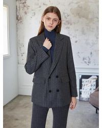 LIUNICK - Stripe Tailored Wool Double Jacket Charcoal - Lyst