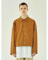 LAYER UNION Cropped Over Coach Jacket-dark Beige - Natural