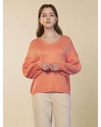 YAN13 Soft V-neck Over Knit Top Orange