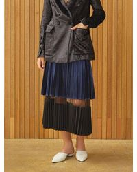 Clue de Clare Velvet Pleats Skirt - Blue