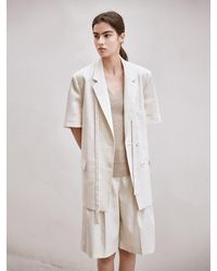 AVA MOLLI [summer Wool] Linen Herringbone Two Button Jacket - Natural
