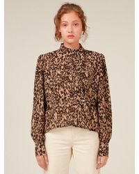 Fleamadonna - Leopard Unbalanced Collar Blouse - Lyst