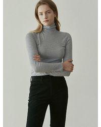 YAN13 Soft Slim Turtleneck T-shirt - Grey