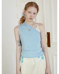 Baby Centaur Like Cashmere One Shoulder Knit [] - Blue