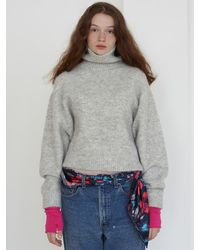 Baby Centaur Wool And Mohair Turtleneck Pullover - Grey
