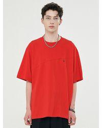 Add Twist Pattern Fit Half Sleeve T-shirt Red