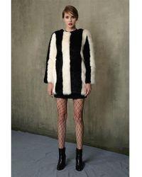 Jin Jin Island - Stripe Faux Fur Coat Black White - Lyst