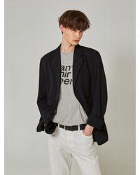 YAN13 Plain Over Single Blazer - Black